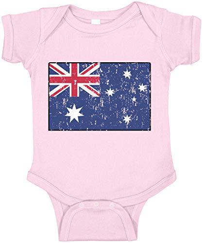Amdesco Australia Flag Australian Infant Bodysuit, Pink 18 Month