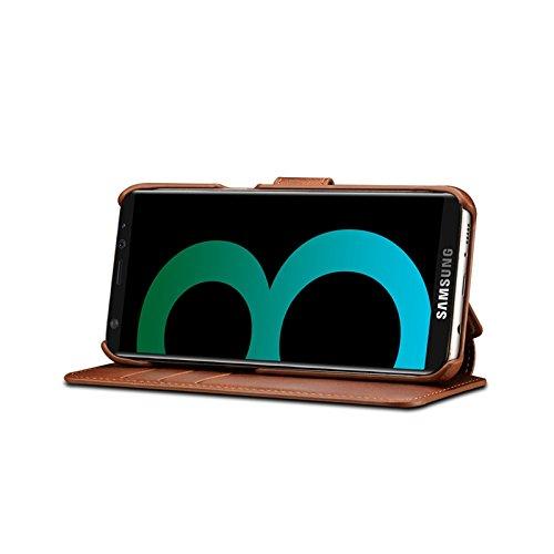 SRY-Funda móvil Samsung Funda Galaxy S8 Plus para Samsung Galaxy S8 Plus Funda de cuero con tapa retro para Samsung Galaxy S8 Plus ( Color : Red ) Brown