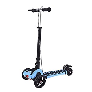 LinRin Hand and Foot Break Extra Thick PU Wheel Aluminum Base Foldable Scooter, Blue