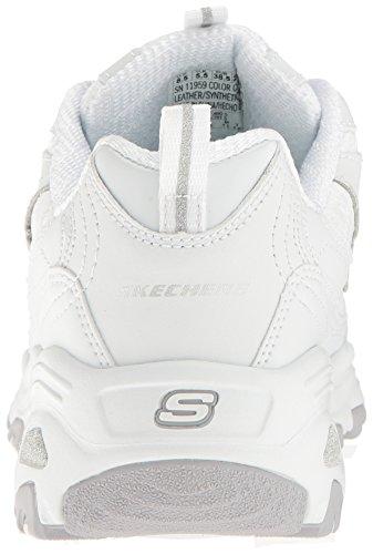 Donne Skechers Dlites Più Grande Sneaker Fan, Nero, 40 Eu Bianco, Tessuto Di Pizzo