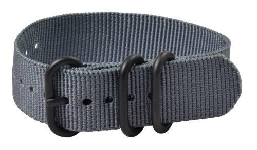 22mm Premium Heavy Nato 3-ring PVD Nylon Grey Interchangeable Watch Strap Band
