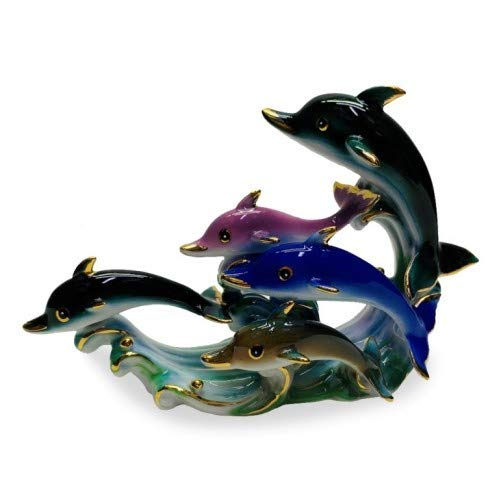 Feng Shui Dolphins-Hand Crafted and Decorated Chinese Porcelain,Figurine D07060 (Figurines Porcelain Dolphin)