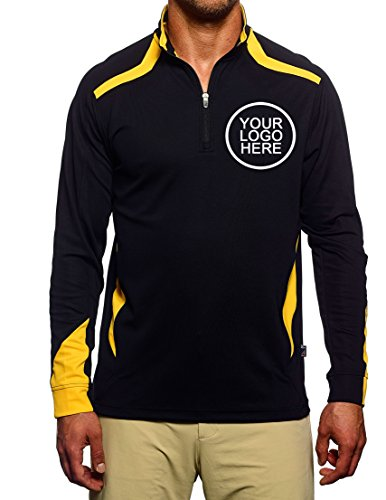 Pro Celebrity Men's Voyager 1/4 Zip Sports Pullover With Custom School Team Company Name Embroidered Logo - Uniform Pack (Black & Gold, - 90s Cholo