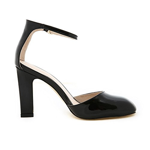 AllhqFashion Womens Buckle High-Heels Patent Leather Solid Square Closed Toe Sandals Black sBYE84LhE