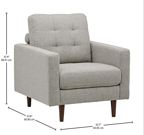 Rivet Cove Modern Tufted Accent Chair with Tapered Legs, Mid-Century, Light Grey - 4