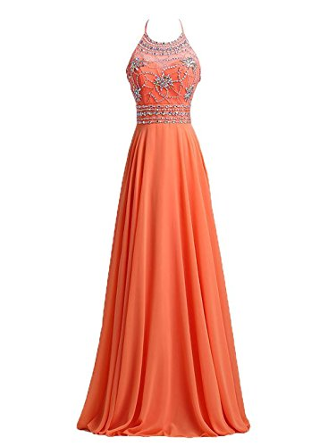 Chiffon Beaded Long Halter Gown - 3