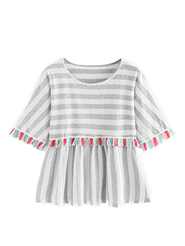 ROMWE Women's Short Sleeve Colorblock Striped Print Fringe Trim Ruffle Tee Blouse Top Grey S
