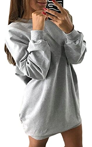 Long Sweatshirt Solid Casual Mini Jaycargogo Round Sleeve Neck 4 Straight Womens Dress xwz0nW1w