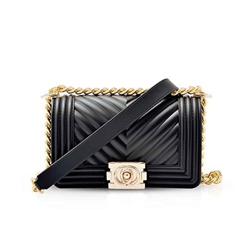 Cross Body Clutch DORIS Strap Quilted Gold Bag NICOLE Chain with Bag Elegant amp; Mini Black Evening Shoulder vxwqWpB4