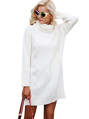 BerryGo Women's TurtleneckSplitKnitPulloverLongSweaterJumper Cream,One Size