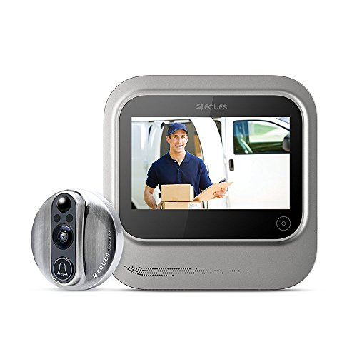 World's Smartest Video Doorbell - Eques VEIU Rechargeable Door Camera Peephole Viewer for Your Home Security - WiFi Enabled - Night Vision - Large LED Touch Screen - iOS & Android (Nickel) (The Most Smartest Person In The World)
