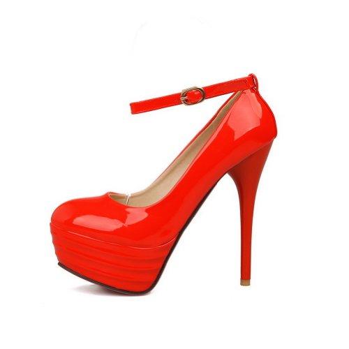 AllhqFashion Mujer Hebilla Esmerilado Tacón Alto Puntera Redonda ZapatosdeTacón Rojo