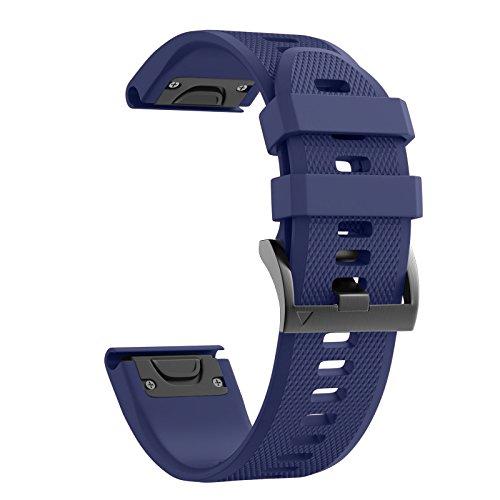 Notocity Compatible Garmin Fenix 5X Band 26mm Width Soft Silicone Watch Strap for Garmin Fenix 5X/Fenix 5X Plus/Fenix 3/Fenix 3 HR Smartwatch-Dark Blue