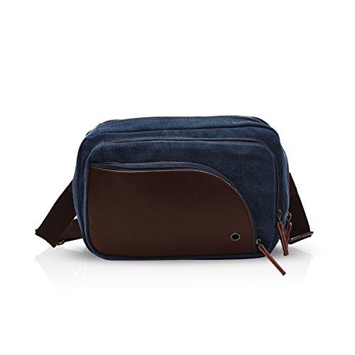 New Portátil Crossbody Comercio Earphones Shoulder Fiesta FANDARE Azul Lienzo Bag Mujeres Hole Bag Transpirable Excursión Viaje Sling with Marrón Hombres dwBBq4z