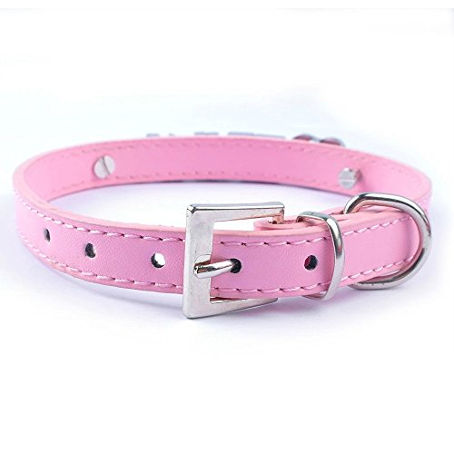 Product image of Didog Personalized Rhinestone Pet collars with Customizable Name Letters,Fit Small and Medium Dogs(Pink, XS)
