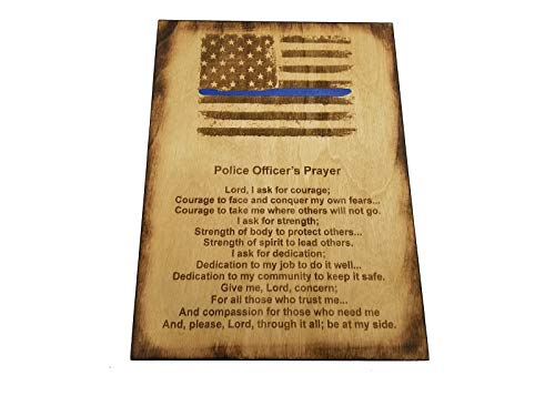 Police Officer Gift Sign - Police Prayer 8.5 x 11.5 Inches - Distressed American Flag with Thin Blue Line and Police Officer's Prayer -