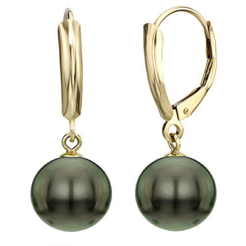14k-Yellow-Gold-8-85mm-Round-Black-Tahitian-Cultured-High-Luster-Pearl-Lever-back-Earrings