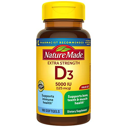 Extra Strength Vitamin D3 5000 IU (125 mcg), 180 Softgels Value Size, High Potency Vitamin D Helps Support Immune Health…