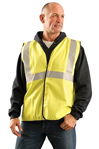 OccuNomix SSCGFR-Y2X 2X Hi-Viz Yellow Classic Flame Resistant Cotton Class 2 Single Stripe Solid Vest with Hook and Loop Closure and 3M Scotchlite 2 Reflective Tape and 1 Pocket 268.45 fl oz.