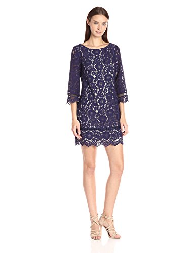VINCE CAMUTO Women's Lace Sleeve Shift Dress, Navy, 12