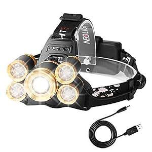 Luz Frontal Súper Brillante Recargable Impermeable 4 Modo de Linternas Frontales Para Espeleología/Pesca/Excursionismo/Caza(Batería incluido) Neolight H04 Oro