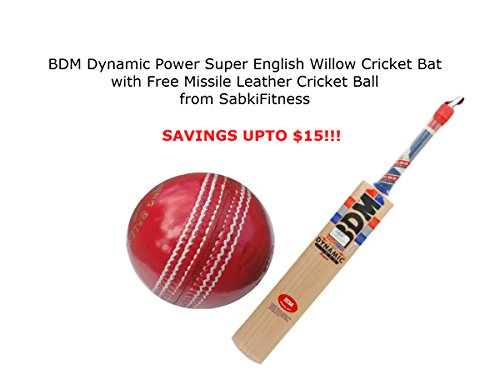 BDM Dynamic Power Super English Willow Cricket Bat, Size Horrow With a Free SabkiFitness Cricket Leather Ball by BDM