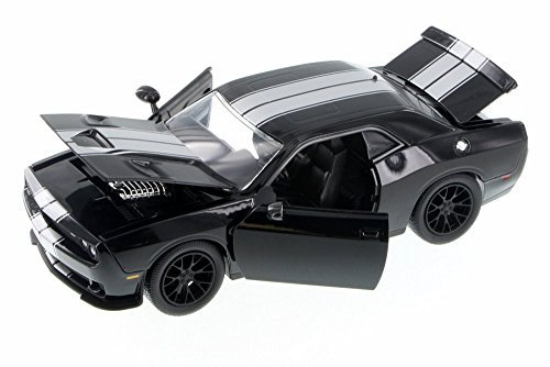 2015 Dodge Challenger SRT Hellcat Black with Silver Stripes 1/24 by Jada 97600 (Dodge Challenger Model compare prices)