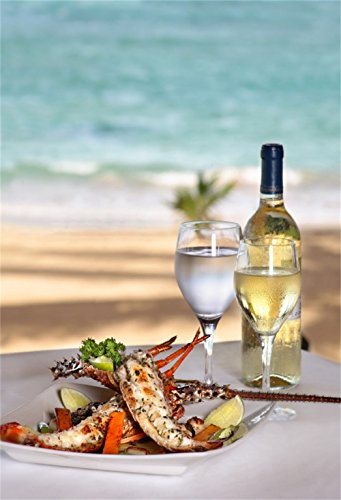 Laeacco Halloween Theme Backdrop 6x8ft Vinyl Photography Background Seaside Lobster Dinner Table Champagne Globet Background Bokeh Seawater Beach Summer Holiday Trip Leisure Time Shoot Studio (Tablecloth Lobster Weights)