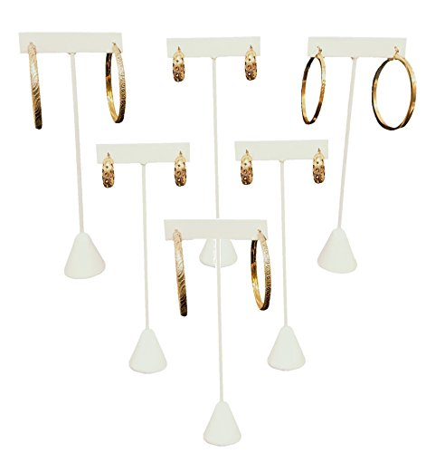 888 Display USA 6 Earring T Stand White Leather Showcase Display 6.75