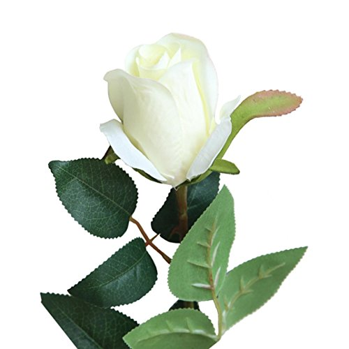 YLCOYO Flowers, Artificial Fake Rose Flower Bridal Bouquet Wedding Party Long Roses Home Decor (White) 7 String Arch Top