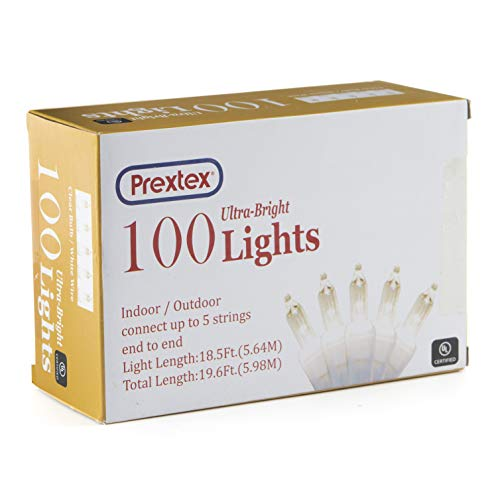 prextex christmas 100 clear white wire light set christmas decorations