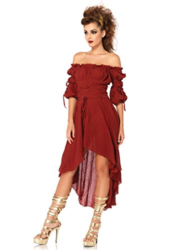 Renaissance Costumes Amazon (Leg Avenue Women's High Low Peasant Dress Costume, Burgundy, Medium/Large)