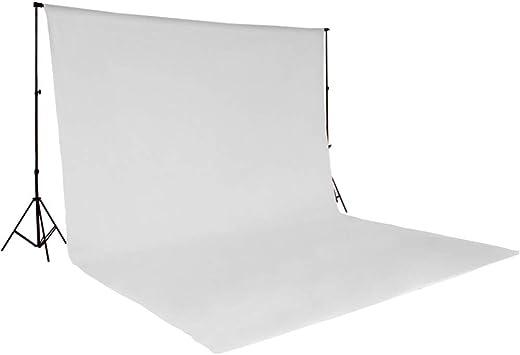 TecTake KIT FONDALE STUDIO FOTOGRAFICO SFONDO 3X6M SCENARIO PROFESSIONALE disponibile in diversi colori (Bianco | No. 400780)