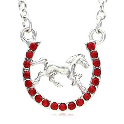 Mustang Horse Charm - Soulbreezecollection Horse Mustang Pony Horseshoe Necklace Pendant Lucky Charm Western Cowboy Cowgirl (Red)