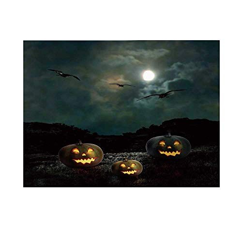 Halloween Photography Background,Yard of an Old House at Night Majestic Moon Sky Creepy Dark Evil Face Pumpkins Decorative Backdrop for Studio,20x10ft