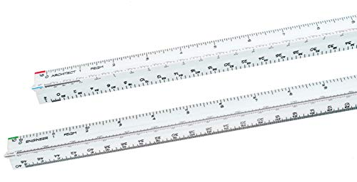 Architectural Scale Ruler and Engineer Scale Ruler Set - Two White Engraved Plastic Triangular Scale Rulers ()