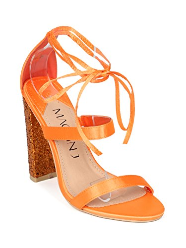 Women Satin Strappy Ankle Wrap Glitter Block Heel Sandal - HH22 by Mackin J Collection - Orange Satin (Size: (Satin Ankle Wrap Sandal)