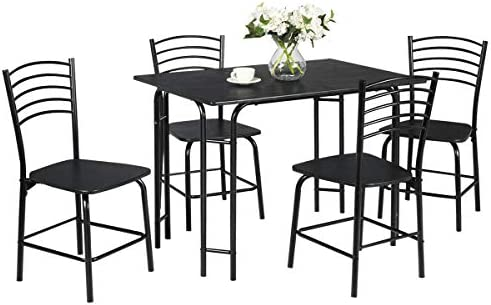 Giantex Dining Table Set with 4 Chairs 5-Piece Wood Kitchen Table for 4 Person Rectangular Table with Metal Frame Black