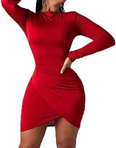 696d289abeb3 IyMoo Women's Long Sleeve Elegant Sexy Bodycon Ruched Mini Cocktail Dress