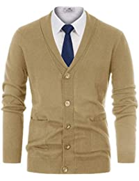 034e6dfa Men's Stylish V-Neck Button Down 2 Pockets Cardigan Sweater Ribbed Edge