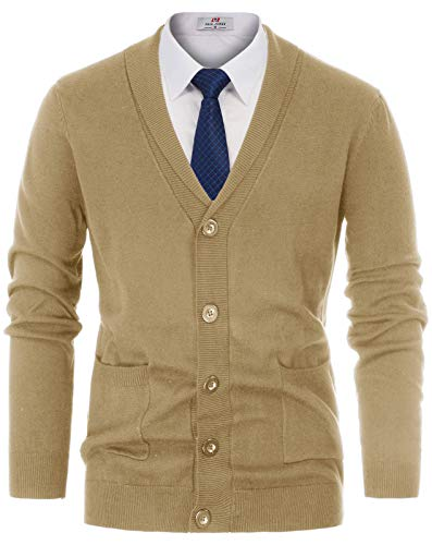 PAUL JONES Mens Knitted Button Down Cardigan Sweater with Ribbing Edge Size S Light Tan