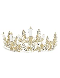SODIAL Queen Baroque Bridal Wedding Gold Crystal Pearl Crown Tiara Headband Headpiece