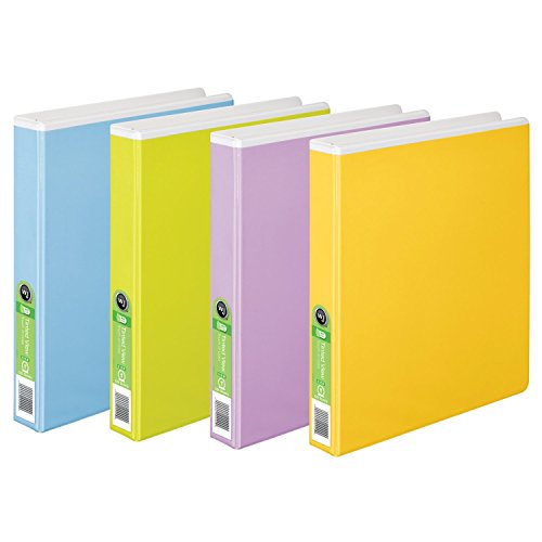 Wilson Jones Tinted View Round Ring Binder, 1 Inch, Customizable, White with Assorted Color Overlay, Case of 6 (Ring Vinyl Presentation Binder)