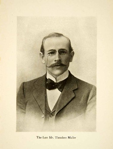 1904 Print Portrait Theodore Muller Adventure Explorer Glasses Bow Tie Mustache - Original Halftone - Theodore Glasses