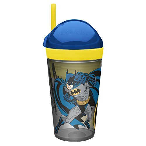 (Zak Designs Batman ZakSnak All-In-One Drink Tumbler + Snack Container For Toddlers – Spill-proof 4oz Snack Container Screws Securely Onto 10oz Tumbler With Accessible Straw, Batman)