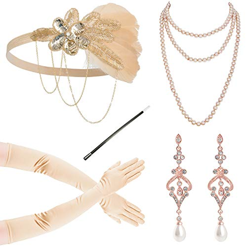 (1920s Gatsby Flapper Feather Headband 20s Accessories Crystal Beaded Wedding Headpiece (Set)