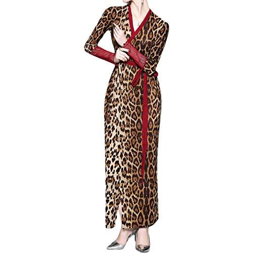 Wrap De Brown Y Noche V Leopard Con Vestido Manga En Cuello Larga SwwCqdv