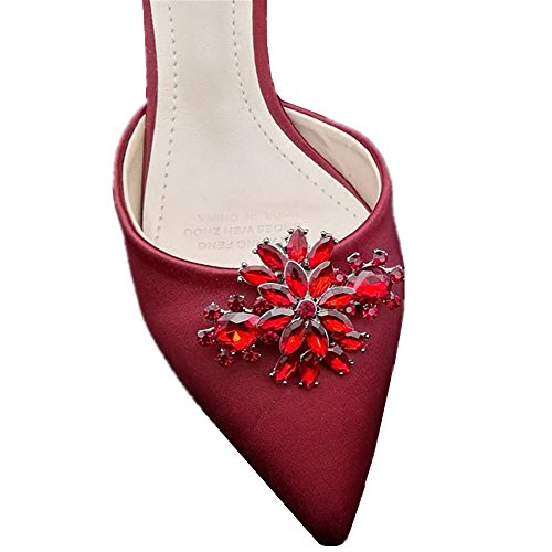 Casualfashion 2Pcs Korean Fashion Rhinestones Flower Shoe Clips Wedding Party Shoes Buckles Decorations ()