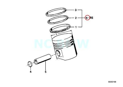 Bmw Piston Ring - Genuine BMW 114 E12 E21 E23 E24 E28 Repair Kit Piston Rings OEM 11251261132