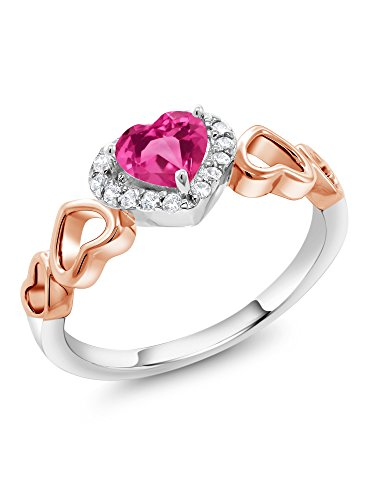 Ring Sapphire Rose (0.76 Ct Heart Shape Pink Created Sapphire 925 Sterling Silver and 10K Rose Gold Ring (Size 6))